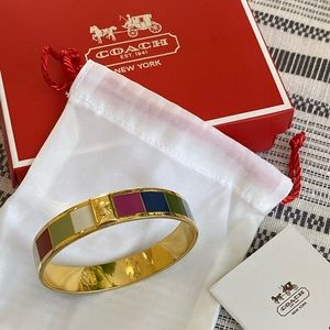 Vintage Coach Legacy Stripe Bangle- Goldtone